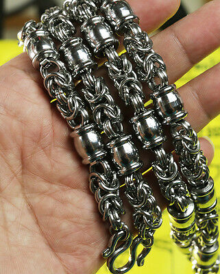 Big10.7mm 28 Inches Stainless Steel Necklace Solid for thai amulet handmade@11