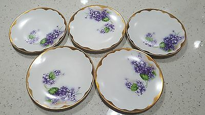 lot of 5 antique hand-painted heavy gold trim plates measures six and a half in