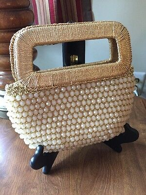 Vintage Made in Italy Faceted Bead Beaded Purse Handbag Retro Gold Corded Handle
