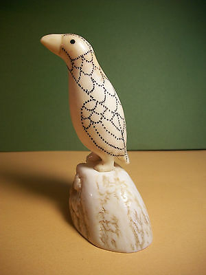 Polar Bird. Old Yupik Inuit Eskimo Carving (Engraved). Uelen, Chukotka