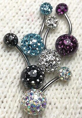 Belly Button Rings Ferido Crystal Balls 10mm & 6mm Epoxy Coated 5Pieces/1Lot