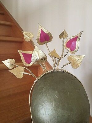 Gold Leather Headpiece With Lipstick Pink Brand New