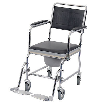 Viva Medi Wheeled Chrome Commode with Drop Down Arms
