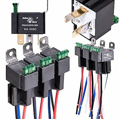 6 Pack OLS 30A Fuse Relay Switch Harness Set 12V DC 4 Pin SPST Automotive Relays