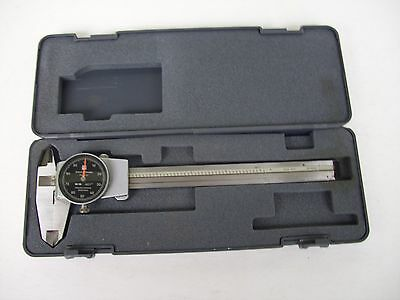"Brown & Sharpe 6"" Dial Caliper Black Face # 599-579-5 & Case"