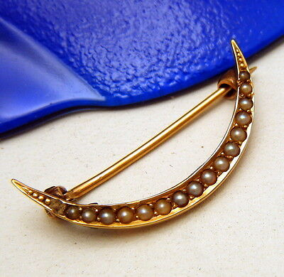 Antique Victorian Crescent Pin Brooch 14K Gold Tiny Seed Pearls As Is