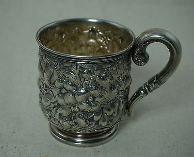 Gorham STERLING SILVER Floral REPOUSSE MUG / CUP - DATED 1883 Monogrammed