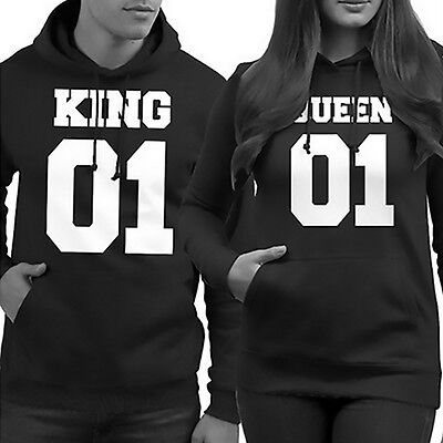 Couple Matching Hoodie King & Queen 01 Sweatshirt Pullover Hooded Tops Clothes