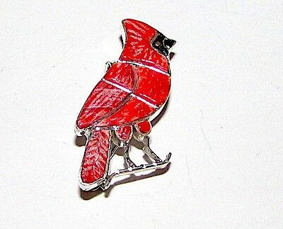 ZUNI Sterling Silver Coral Jet Inlay Cardinal Pin Pendant Signed