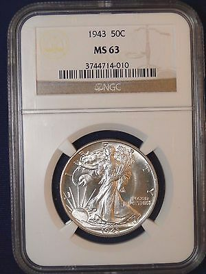 1943 50C Walking Liberty Half Dollar Ngc Ms63