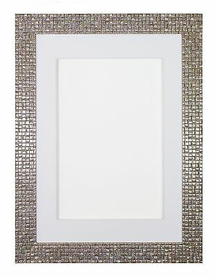 Flat Bright Mirror effect Mosaic Picture Frame Bespoke Mount Frame -Pearl Silver