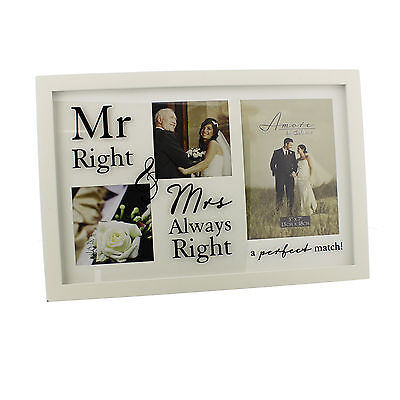 Amore MDF Collage Frame Mr Right & Mrs Always Right - GREAT WEDDING GIFT!