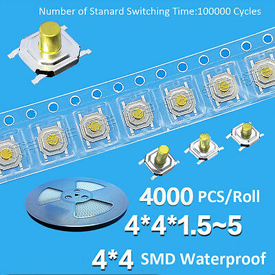 4x4x1.5mm to 5mm SMD Waterproof Momentary Button Push Tact Switch Mini PCB 4-Pin