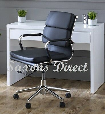NEW Designer Eames Style Swivel Office Computer Chair Black Soft Pad