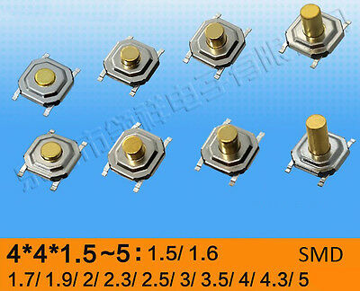 4x4x1.5mm to 5mm SMD Waterproof Momentary Button Tactile Push Switch Micro PCB