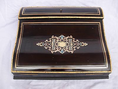 Antique French Ebonized Wood,brass With Boulle Inlaid Writing Box,napoleon Iii.