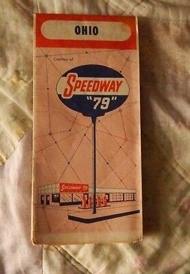 """SPEEDWAY """"79"""" OIL PRODUCTS OHIO ROAD MAP Vintage Undated 1950's?"""