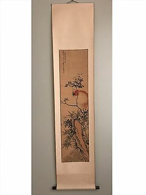 Antique Chinese Qing Dynasty Watercolor Painting Scroll with Wax Seal by 釋蓮溪