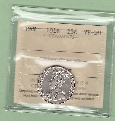 1916 Canadian 25 Cents Silver Coin - ICCS Graded VF-20