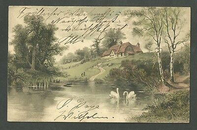Postmarked from Bremen to Brooklyn NY New York 1903 Postcard Cottage Scene