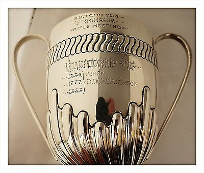 1885 Victorian Colonial Sterling Silver Rifle Shooting Trophy Cup. Bombay India.