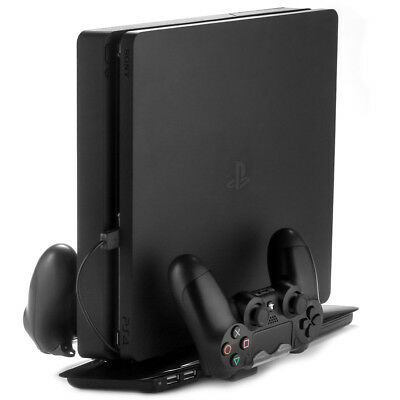 PS4 Slim Cooling Pad Stand Dual Wireless Controller Charging Dock Stand Black