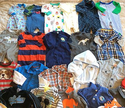 Great Lot Of Baby Boy Clothes Bodysuits Sweaters Hats 3-6 Months 39 Pieces