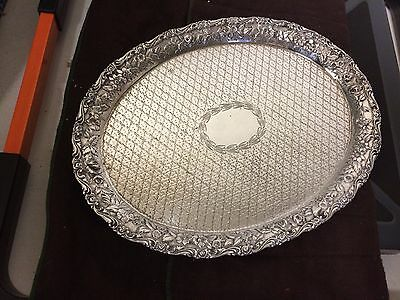 Antique Baltimore Silversmiths Schofield Co. Sterling Silver Repousse Tray Roses