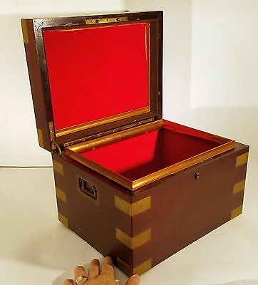 Large Antique 19th c. Tobacco Humidor - Brass Bound Mahogany