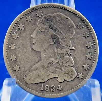 1834 25C Capped Bust Quarter Silver Coin