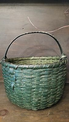 Antique 19Th C Old Primitive Early Splint Basket In Old Green Paint Found Ky
