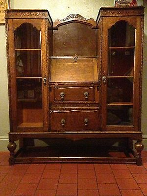 Antique Late Victorian Early Edwardian Bureau With Display Cupboards / Bookcases