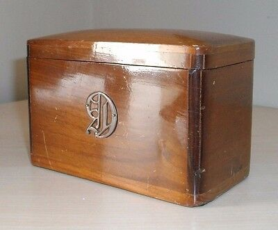 """Victorian wooden dual compartment playing card box with white metal initial """"D"""""""