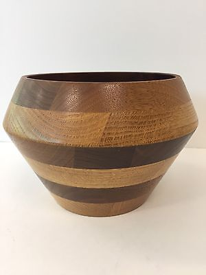 Beautiful Unique Handcrafted Solid Wood Wooden Bowl - Very Nice - Great colors