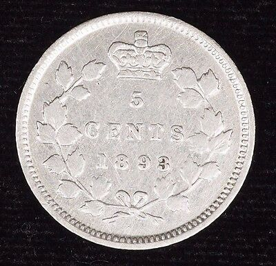 1893 Canada 5 Cent Canadian Silver Five Cent