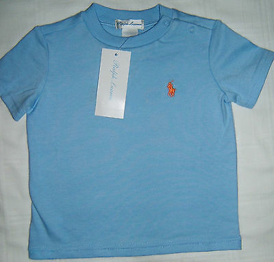 NWT Polo Ralph Lauren Pony T Shirt Baby Boy 9 Months Light Blue with Orange Pony