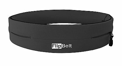 FlipBelt Running/Workout/Fitness Belt w/ Pockets for Phone/Keys, Carbon, New