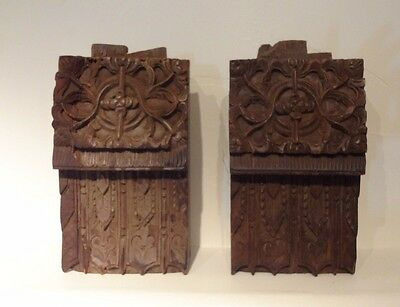 Architecture Salvage Carved Wood Beams book ends Decoration Design Antique old