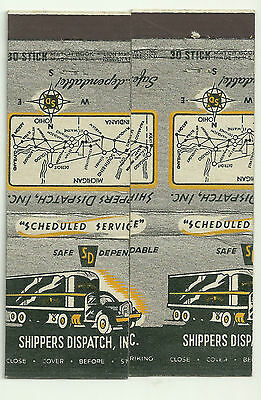 pair Shippers Dispatch Inc. matchbook covers old truck off cut, match up see pic