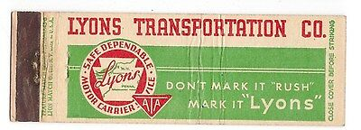 Lyons Transportation Co Motor Carrier Erie PA, Ohio, NY vintage matchbook cover