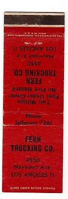 Fern Trucking Co Los Angeles 11 two million feet undercover matchbook cover