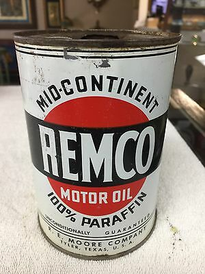 Antique Remco Mid-Continent Motor Oil Metal 1 Quart Can Tyler,Texas