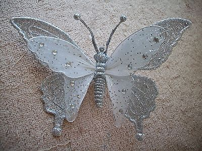Clip On -  Ornament - Beautiful Silver Clip On  Butterfly