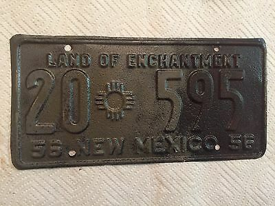 "1956 New Mexico License Plate "" 20 595 "" Nm 56 Taos County Ready To Be Restored"