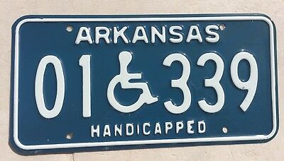 "Mint Arkansas Handicapped Disabled Person License Plate  "" 01 339"" Ar Wheelchair"