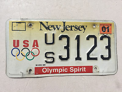 "New Jersey License Plate "" Us 3123 "" Nj Olympic Spirit Olympic Rings Go Team Usa"