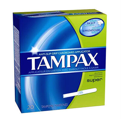 TAMPAX Super Absorbency 20 Tampons ( 6 packs in a box) 6 X 20