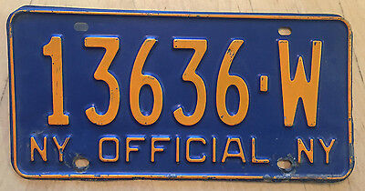 "1966 Base  New York Official  License Plate  "" 13636 W "" Ny"