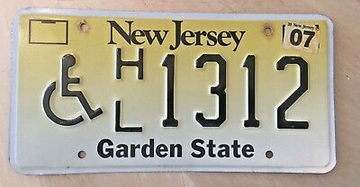 "New Jersey Handicapped Person License Plate  "" Hl 1312 "" Wheelchair"