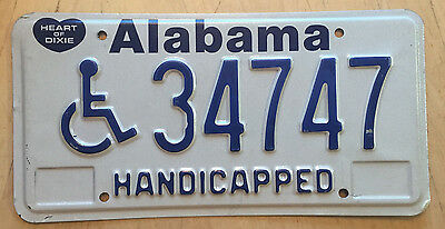 "Alabama Handicapped Disabled Person License Plate "" 34747 "" Wheelchair"